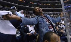 Actor Cuba Gooding Jr. celebrates during the third period of Game 3 of the NHL hockey Stanley Cup Western Conference final between the Los Angeles Kings and the Phoenix Coyotes, in Los Angeles. The Kings won 2-1. (Mark J. Terrill/Associated Press)