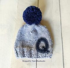 CHUNKY Knit Grey with Navy Personalized Letter and Pom Pom Hat with Initial  of your choice 271802b9fd75