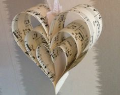 Vintage Sheet Music Hanging Heart Wedding Decorations x 10