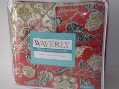 Waverly+4PC+EASTERN+MYTH+RED+Queen+Comforter+Shams+Bedskirt+Set+New++#Waverly+#Mediterranean