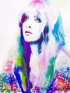 70er Jahre Mode Kunstdruck Original Aquarell Malerei Portrait 70er Jahre Haare Illustration Zigeuner Art blau rosa Blumen Boho