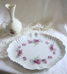 Antique Shabby Chic Oval Rose Serving Plate Possibly German