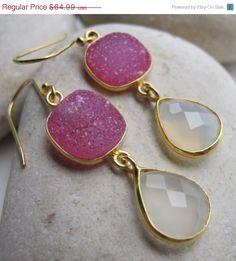 SALE Moonstone Earring- Gemstone Earring- Druzy Earring- Statement Earring- Pink Druzy Earring- Quartz Earring- Silver Druzy Earring- Earrin