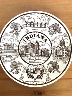 Vintage Indiana souvenir plate State Capitol Indianapolis