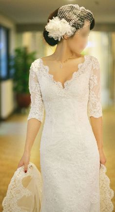 Fang/wedding gown/bridal dress/women clothing/custom made/all size/V-neck/half sleeve/lace/13094 . . . this is beautiful, would be perfect if the skirt was a princess cut
