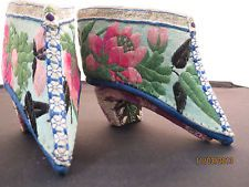 Antique Chinese Lotus Shoes Embroidered Silk Bound Feet Very Fine