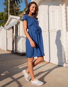 a31d2e907c3 Royal Blue Dot Maternity   Nursing Dress