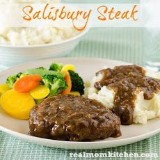 Salisbury Steak Recipe Main Dishes with ground beef, bread crumbs, salt, pepper, eggs, onion, beef broth, sliced mushrooms, corn starch, water, brown gravy mix, cooked rice, mashed potatoes