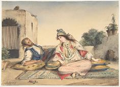 Eugène Delacroix (French, 1798–1863). A Moorish Couple on Their Terrace, 1832. The Metropolitan Museum of Art, New York. The Mr. and Mrs. Henry Ittleson Jr. Purchase Fund, 1963 (63.215)