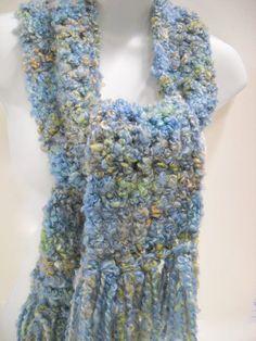 Soft Blue Chunky Scarf - Crocheted by Stitchknit. $16.00, via Etsy.