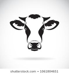 Vector of a cow head design on white background. Cow Clipart, Cow Vector, Cow Logo, Farm Logo, Black And White Google, Clipart Black And White, Love You More Tattoo, Cow Illustration, Fluffy Cows