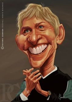 Oh awesome more for DeGeneres Caricature Artist, Caricature Drawing, Drawing Art, Funny Caricatures, Celebrity Caricatures, Celebrity Drawings, Cartoon People, People Art, Cartoon Art