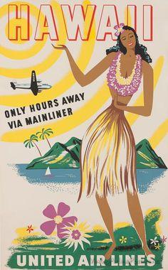 vintage Hawaii airline poster