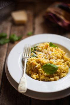 Risotto Milanese, made with saffron, white onion and parmesan, a classic italian meal.