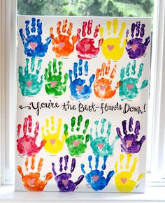 How awesome is this handprint art! It would make a great end of year gift for a teacher, I'm going to have to suggest it to our class mums! Teacher Gifts From Class, Teacher Birthday Gifts, Best Teacher Gifts, Presents For Teachers, Teacher Cards, Teacher Appreciation Week, Class Teacher, Preschool Teacher Gifts, Thank You Teacher Gifts