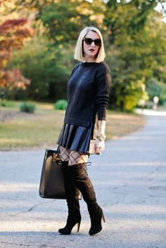 chic way to wear thigh high boots love it @alaceyperspective
