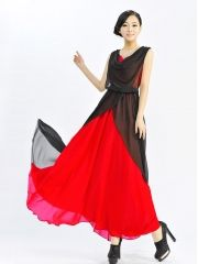 Summer Women's Fashion Expansion Bottom Color Block Chiffon Plus Size Maxi Dress