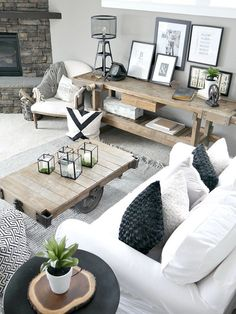 Rustic Modern Living Room With pops of greenery