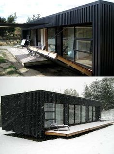 Great portable shelter, designed for extreme environments, with an outer steel shell and four large folding decks which completely enclose the building when not in use.
