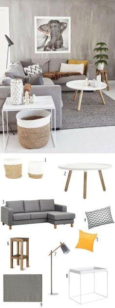 La même déco : un salon scandinave gris www.homelisty.com...