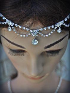Wedding Tikka Headpiece - Indian Inspired Crystal Jewelry-Bridal hair accessory, hair jewelry,Wedding hair accessory,  rhinestone headband