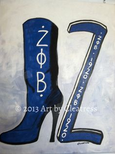 Zeta Phi Beta Boot Painting with Etsy Free by ArtbyCleatress/or paint your own 1400warnerst.blogspot.com