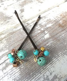 Turquoise hair clip with bead hair jewelry hippie by crushedcameo
