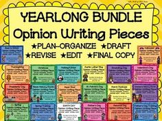 SAVE 75% OFF THE PRICES OF EACH INDIVIDUAL OPINION PIECE PACK WHEN BUY THIS BUNDLE OF 20 INDIVIDUAL THEMED PACKS!This YEARLONG BUNDLE contains a fun, standards based writing assignment in each of the 20 packs included! Students will use each pack to PLAN/ORGANIZE, DRAFT, REVISE, EDIT, and write a FINAL COPY of an opinion writing piece.***NOTE: ALL OPINION PIECE PACKS CONTAIN EXACTLY THE SAME CONSISTENT FORMAT, CONTENT, COMPONENTS, RESOURCE PAGES AND WORDING.