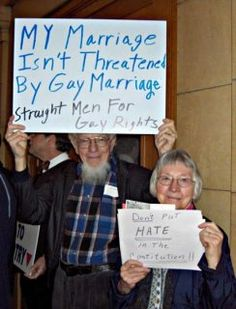 """My marriage isn't threatened by gay marriage -- Straight Men for Gay Rights."""