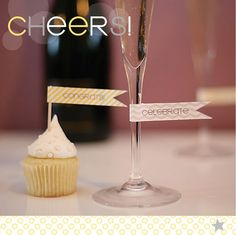 perfect for a graduation celebration!  ~ CHEERS printable cupcake party flags by StardustDesignStudio