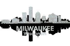Milwaukee WI Black and White Concrete Jungle Print - contemporary - prints and posters - Angelina Vick Spurs Logo, Milwaukee Wisconsin, White Concrete, City Illustration, Jungle Print, Silhouette Art, Concrete Jungle, E Design, Ceiling Lights