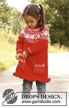 """Selina - Knitted DROPS tunic worked top down in """"Karisma"""" with round yoke and Norwegian pattern. - Free pattern by DROPS Design Knitting Patterns Free, Knit Patterns, Free Knitting, Baby Knitting, Free Pattern, Drops Design, Knit Or Crochet, Crochet For Kids, Pull Jacquard"""