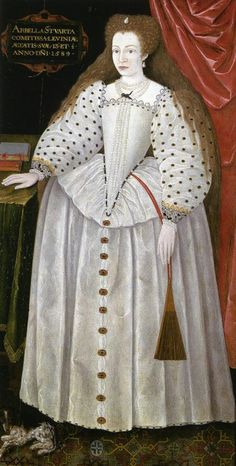 A portrait of Lady Arbella Stuart from As the niece of Mary, Queen of Scots, and granddaughter of the Countess of Lennox, Arbella had both Tudor and Stuart blood flowing through her veins. She was considered as a possible successor for Queen Elizabeth I. Elizabeth Bathory, Elizabeth I, Tudor History, British History, Uk History, London History, Isabel I, Margaret Tudor, Die Renaissance