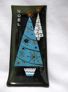 Houze Art MID CENTURY MODERN Christmas Glass Ashtray TURQUOISE TREE Sputnik