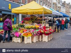 Flower Stall At Outdoor Market In Dorchester, Uk Stock Photo ...