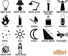 Light Sources - Picture Vocabulary Worksheet 1 | EFLnet