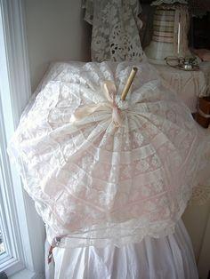 little girl's antique lace parasol