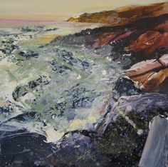 The stormy sea in the sunset at Gwennap Head