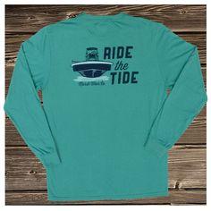 'Low Tide' Teal Pocket T-Shirt, Long Sleeve Boyfriend Gift for Christmas