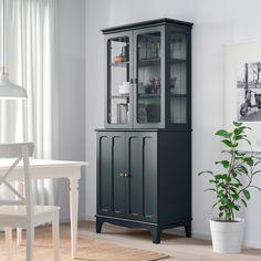 LOMMARP Cabinet with glass doors, dark blue-green, 33 - IKEA Great linen cabinet option Glass Shelves In Bathroom, Glass Cabinet Doors, Sliding Glass Door, Glass Doors, Vitrine Ikea, Dining Cabinet, Dark Blue Green, Ikea Cabinets, China Cabinets