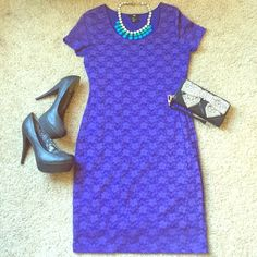 """H&M Blue Lace Body-con Dress Size Medium Beautiful H&M Lace Body-con dress - size medium - excellent condition, only worn once - fits like a dream - approximately 17"""" underarm to underarm & 36 1/2"""" from top of shoulder to bottom of dress - can be dressed up or down  H&M Dresses Midi"""