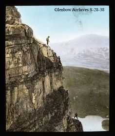 Mountaineers climbing in the Canadian Rockies c. Lantern Slide from Glenbow Museum archives. Canadian History, Canadian Rockies, The Old Days, Banff, Figs, Vintage Images, Climbing, Lantern, Scenery