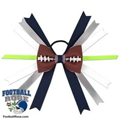 Handmade Football Hair Bow made from real football leather with Navy Blue, Grey, White, Lime Green ribbon accents inspired by Seattle football Seattle Football, Football Team, Football Hair Bows, Different Font Styles, Team Mom, Elastic Hair Ties, Making Hair Bows, Ribbon Colors, How To Make Bows