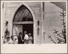 Linworth, Ohio. People leaving church From New York Public Library Digital Collections.