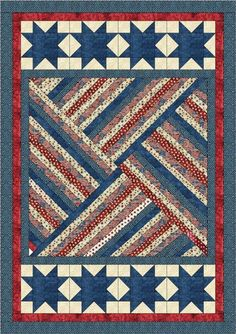 Strip Triangle Tango - Blue xQuilt Jubilee by Lisa Sutherland - Patriotic QuiltsI would do a variation of this with the baby girl strips I have a do something cute on the ends like hearts or flowers. Flag Quilt, Patriotic Quilts, Star Quilt Blocks, Star Quilts, Block Quilt, Jellyroll Quilts, Scrappy Quilts, Easy Quilts, Strip Quilt Patterns