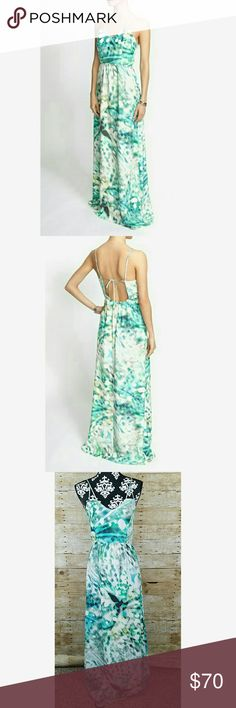 "Parker Kisa Cut Out Back Maxi Dress Women's Parker Kisa Cut Out Back Printed Maxi Dress in Green  Back zipper  100% silk  Size XS  Gently used EUC   Measurements laying flat:  Underarm to underarm: 17.5""  Length: 54"" Parker Dresses Maxi"