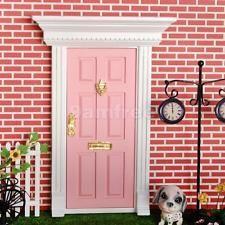 Dollhouse Miniature Fairy External Wood Door w/ Metal Key Knocker Plate Pink