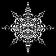 Ornement flocon de neige blanc contre le mod le noir de tatouage de fond Banque d'images