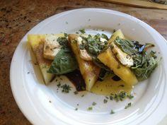 Caprese - yellow watermelon, buffalo mozzarella, basil, chives, and balsamic vinaigrette