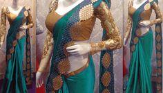 NEW LATEST RAMA COLOR NAYLONE SILK EMBROIDERY WORK SAREE Sarees on Shimply.com